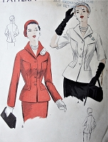 1950s CHIC Fitted jacket Pattern VOGUE 7116 Stylish Lapped Seam Side Front Sections Bust 34 Vintage Sewing Pattern