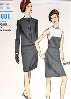 MOD 60s Slim Contrast Colorblock Dress and Jacket Pattern VOGUE 7169  Bias Standup Collar Day or Cocktail Ensemble Bust 32 Vintage Sewing Pattern FACTORY FOLDED