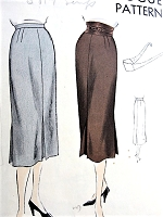1950s CLASSY Slim Skirt and Belt Pattern VOGUE 7175, Inverted Pleats, Unique Shaped Belt Crosses at Back and Buckles at Front Waist 32 Vintage Sewing Pattern
