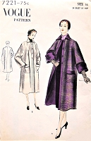 1950s ELEGANT Coat Pattern VOGUE 7221 Slightly Flared, Patch Pockets,Regular or with Cuffs, Bust 34, Easy To Make Vintage Sewing Pattern