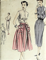 1950s Vintage LOVELY Sleeveless High Collar Dress with Detachable Overskirt Vogue 7275 Sewing Pattern Bust 30