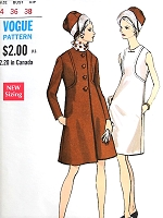 1960s MOD Coat and Dress Pattern VOGUE Special Design 7286 Semi Fitted a Line Coat Seam Detail, Sleeveless A Line Dress Bust 36 Vintage Sewing Pattern FACTORY FOLDED