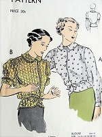 1930s LOVELY Over Blouse Pattern VOGUE 7326 Daytime or Evening  Two Beautiful Styles Bust 36 Vintage Sewing Pattern
