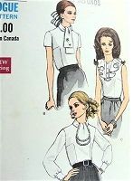 1960s CLASSY Blouse Pattern VOGUE 7353 Three Lovely Styles Bust 32 Vintage Sewing Pattern