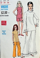 1960s MOD Top, Pants and Shorts in Three Styles Vogue 7359 Bust 34 Vintage Sewing Pattern