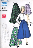 1960s LOVELY Skirt In 3 Lengths Pattern VOGUE 7446 Mini , Midi and Maxi Floor Length 4 Versions Vintage Sewing Pattern FACTORY FOLDED