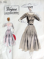 1950s BEAUTIFUL Party Dress Pattern VOGUE COUTURIER Design 745 Stunning Radiating Pin Tuck Details Bust 32 Vintage Sewing Pattern + RARE 50s Vogue Label