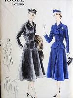 1950s BEAUTIFUL Flared Skirt Suit Pattern VOGUE 7460 Lovely Fitted Double Breasted Jacket and Flared Skirt Bust 32  Easy To Make Vintage Sewing Pattern