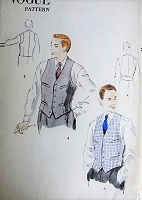 Vintage 1950s CLASSIC Men's Single-Breasted Vest with four Welt Pockets Vogue 7477 Sewing Pattern Chest 36