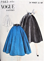 1950s CLASSIC Full Skirt Pattern Vogue 7583 Waist 24 Vintage Sewing Pattern