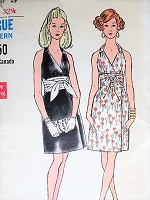 1960s MOD Evening Party Dress Pattern VOGUE 7594 Slim Halter Wrap Style Dress, Low V Neckline, Flattering Obi Wrapped Sash Bust 30 Vintage Sewing Pattern