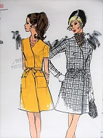 Vintage 1960s STYLISH V-Neck Wrap Dress Vogue 7595 Sewing Pattern Bust 36