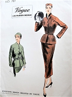 1950s CHIC Slim Suit Pattern VOGUE Couturier Design 761 Slim Skirt Fitted Belted Jacket Beautiful Details, Bust 34 Vintage Sewing Pattern
