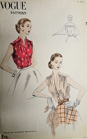 1950s LOVELY Sleeveless Blouse Pattern VOGUE 7650 Tuck In Blouses, Notched V Neckline Bust 34  Easy To Make Vintage Sewing Pattern