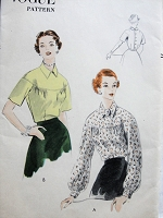 Vintage 1950s CHIC Blouse with Drop Shoulder Yoke and Button Back Closing Vogue 7635 Sewing Pattern Bust 36