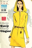 1960s MOD Slim Dress With Hood Pattern  Very Easy Very VOGUE 7658 Front Zip Straight Dress Bust 34 Vintage Sewing Pattern