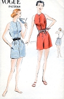 1950s LOVELY Playsuit Beachwear Pattern VOGUE 7668 Classy Beach Outfit Bust 32 Vintage Sewing Pattern FACTORY FOLDED