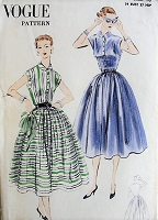 1950s CLASSIC Shirt Dress Vogue 7689 Vintage Sewing Pattern Bust 34
