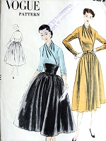 1950s CLASSY Day or Cocktail Party Dress Pattern VOGUE 7765 Draped Surplice Bodice Midriff Dress Beautiful Evening or Daytime Bust 36 Vintage Sewing Pattern