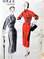 1950s CLASSY Slim Dress Pattern VOGUE 7769 Interesting Curved Darts At Hips, Lovely Built Up Shaped Neckline, Day or Dinner After 5 Dress Bust 36 Vintage Sewing Pattern