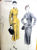 1950s ELEGANT Suit Pattern VOGUE 7778 Beautifully Fitted Jacket Slim Skirt with Side Pleats Bust 34 Vintage Sewing Pattern