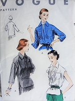 1950s CHIC Shirt Blouse Pattern Vogue 7791 Bust 34 Vintage Sewing Pattern