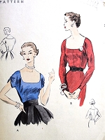 1950s LOVELY Blouse Pattern VOGUE 7805 Two Styles Day or Evening Low Cut Sq Neckline Easy To Make Bust 30 Vintage Sewing Pattern