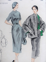 1950s CLASSY Slim Dress and Jacket Pattern VOGUE 7815 Slim Day or After 5 Dress, Fabulous Coat Jacket Bust 30 Vintage Sewing Pattern