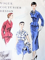 1950s STUNNING Slim Skirt Suit and Blouse Pattern VOGUE Couturier Design 783 Figure Flattering High Waist Skirt, Fitted Nip In Waist Jacket, Bow Tie Tuck In Blouse Bust 34 Vintage Sewing Pattern FACTORY FOLDED