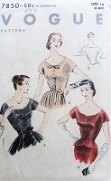 1950s STYLISH Blouse with Round Neckline Vogue 7850 Bust 32 Vintage Sewing Pattern