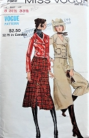 1970s RETRO Jacket, Skirt, and Pants Vogue 7908 Bust 31 1/2 Vintage Sewing Pattern