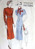 1930s SLEEK Slim Dress Pattern VOGUE 8067 Casual Dress In 2 Styles Bust 32 Vintage Sewing Pattern