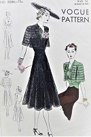 1930s STUNNING Day or Evening Party Dress Pattern VOGUE 8086 Pure Figure Flattery, Includes Lovely Bolero Jacket Bust 30 Vintage Sewing Pattern