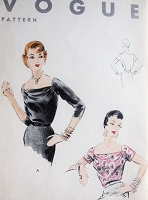 Vintage 1950s ELEGANT Blouse with Straight Neckline Vogue 8183 Sewing Pattern Bust 32