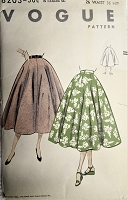 1950s FLATTERING Full Skirt Pattern VOGUE 8203 Eight Gored Umbrella Skirt, Daytime or Evening Waist 26 Vintage Sewing Pattern