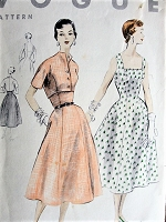 Vintage 1950s LOVELY Flared Princess Dress with Square Neckline and Bolero Jacket Vogue 8223 Sewing Pattern Bust 34