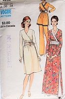 Vintage 1970s RETRO Tunic Dress and Pants Vogue 8234 Sewing Pattern Bust 36