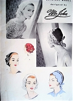 1950s STYLISH Mr John Designer Scarf Hats Tie On Scarves Pattern VOGUE 8265 Fab Styles Vintage Sewing Pattern