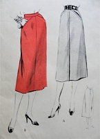 1950s Vintage STYLISH Skirt with Angled Pockets and Optional Bias Bands Vogue 8290 Sewing Pattern Hips 33