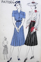 1930s 2 Pc Dress Pattern VOGUE 8382 Tuck In Blouse Lovely Bishop Sleeves or Regular Short,Box Pleated Skirt,Flirty After 5 or Daytime Dress Bust 36 Vintage Sewing Pattern