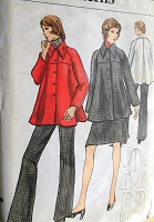 Vintage 1970s STYLISH Flared Jacket, Straight-legged Pants, A-line Skirt Vogue 8407 Sewing Pattern