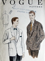 1950s Vintage CLASSIC Mens Jacket with Notched Collar Vogue 8434 Sewing Pattern Chest 38