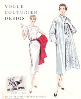 1950s CLASSY Sheath Dress and Coat Pattern VOGUE Couturier Design 843 Bateau Neckline Slim Day or Cocktail Party Dress, Straight Coat with Built Up Neck Bust 34 Vintage Sewing Pattern