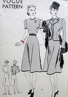 1940s LOVELY Dress and Fitted Jacket Pattern VOGUE 8510 Flared Skirt Dress,Beautifully Fitted Nip in Waist Jacket Bust 36 Vintage Sewing Pattern