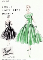 1950s GORGEOUS Evening Cocktail Party Dress Pattern VOGUE Couturier Design 862 Unique and Glamorous Style Bust 32 Vintage Sewing Pattern