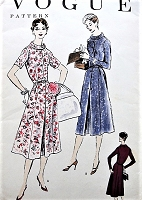 1950s LOVELY Dress Pattern VOGUE 8811 All Seasons Dress Simulated Buttoned Front, Daytime or After 5 Bust 34 Vintage Sewing Pattern
