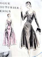 1950s GLAMOROUS Evening Gown Cocktail Party Dress Pattern VOGUE Couturier Design 883 Dramatic Entrance Evening Dress ,2 Lengths and Style Versions Bust 34 Vintage Sewing Pattern