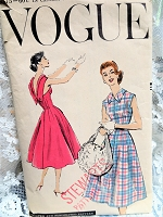 1950s BEAUTIFUL Day or Party Dress Pattern VOGUE 8875 Very Easy To Make Bust 34 Vintage Sewing Pattern