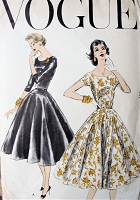 1950s LOVELY Party Cocktail Evening Dress Pattern VOGUE 8925 Full Skirt Flattering Dress Design Bust 32 Vintage Sewing Pattern