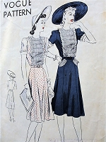 1930s SWEET Dress Pattern VOGUE 8935 Lovely Pin Tucks Front Panel Figure Flattering Dress Bust 32 Vintage Sewing Pattern
